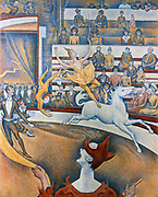 The Circus (Le Circque), 1891: Georges-Pierre Seurat (1859-1891) French Neo-Impressionist painter. This picture was exhibited in 1891 at the 7th Salon des Independants in Paris. During the exhibition Seurat died.
