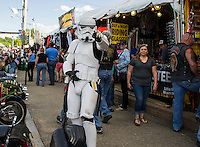A stormtrooper was spotted along Lakeside Avenue Wednesday evening.  (Karen Bobotas/for the Laconia Daily Sun)
