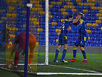Football - 2020 / 2021 Sky Bet League One - AFC Wimbledon vs Wigan Athletic - Plough Lane<br /> <br /> AFC Wimbledon's George Dobson celebrates scoring his side's equalising goal with Joe Pigott to make the score 1-1.<br /> <br /> COLORSPORT/ASHLEY WESTERN