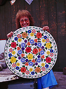 Jeannie Stevens showing her exquisite Athabaskan floral design beadwork , Bettles, Alaska. (Please Note:  Licensing of this images requires an extra fee to be paid to beader Jeannie Stevens).