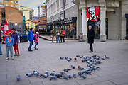Pigeons feeding outside the Kentucky Fried Chicken  KFC in the south side of Mitrovica, a town in Northern Kosovo that straddles the river Ibar that separates the Serbian and Albanian districts of Mitrovica, Kosovo on the 12th of December 2018.  Mitrovica or Kosovska Mitrovica is a city and municipality located in Northern Kosovo. (photo by Andrew Aitchison / In pictures via Getty Images)