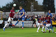 AFC Wimbledon striker Joe Pigott (39) scoring goal to make it 1-0 during the EFL Carabao Cup 2nd round match between AFC Wimbledon and West Ham United at the Cherry Red Records Stadium, Kingston, England on 28 August 2018.