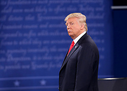 Donald Trump on stage during the second debate between the Republican and Democratic presidential candidates on Sunday, October 9, 2016 at Washington University in St. Louis, Mo. Photo by Christian Gooden/St. Louis Post-Dispatch/TNS/ABACAPRESS.COM