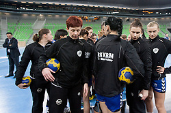 Players of Krim after the handball match between RK Krim Mercator and CS Oltchim RM Valcea (ROU) of Women's EHF Champions League 2011/2012, on February 4, 2012 in Arena Stozice, Ljubljana, Slovenia. Valcea defeated Krim 31-25. (Photo By Vid Ponikvar / Sportida.com)