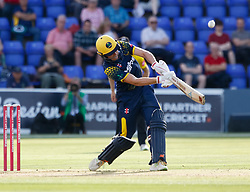 Glamorgan's Aneurin Donald strikes the ball<br /> <br /> Photographer Simon King/Replay Images<br /> <br /> Vitality Blast T20 - Round 8 - Glamorgan v Gloucestershire - Friday 3rd August 2018 - Sophia Gardens - Cardiff<br /> <br /> World Copyright © Replay Images . All rights reserved. info@replayimages.co.uk - http://replayimages.co.uk