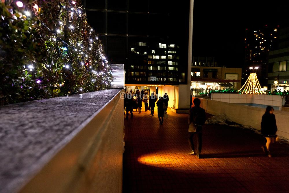 Tokyo people walking at night by Tamachi station Shibaura district