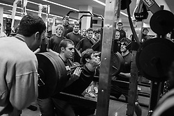27 November 2007: North Carolina Tar Heels men's lacrosse Michael J. Burns helped by Colin Sherwood during a weight lifting session in Chapel Hill, NC.