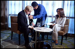 The London Mayor Boris Johnson is interviewed by Fatima Daoui, Senior Business News Anchor Al Arabiya News Channel in Abu Dhabi. The Mayor is on a 2 day tour of the UAE, Monday April 15, 2013. Photo By Andrew Parsons / i-Images