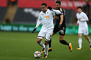 Martin Olsson of Swansea City in action. Premier league match, Swansea city v Leicester city at the Liberty Stadium in Swansea, South Wales on Saturday 21st October 2017.<br /> pic by  Andrew Orchard, Andrew Orchard sports photography.