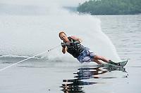 Mike Morin or Morin Training Systems slalom skiing on Lake Winnipesaukee.  © 2013 Karen Bobotas.  All Rights Reserved.