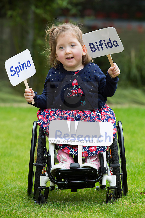Repro Free: 03/09/2014<br /> Lara Bayliss (3) from Bray Co Wicklow is pictured at the launch of the Temple Street national Spina Bifida services research report. This report shows the gross under-resourcing of services for children with Spina Bifida both in Temple Street and across the country. These children have extremely complex needs but the research showed that 54% of them do not have access to a multidisciplinary team (MDT) clinic despite the fact that 69% of children with SB over three years use a wheelchair, 93% of them over five years require continence support and 64% of them have a VP shunt to manage hydrocephalus. Picture Andres Poveda