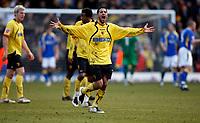 Photo: Richard Lane/Sportsbeat Images.<br />Watford v Cardiff City. Coca Cola Championship. 26/12/2007. <br />Watford's Jobi Mcanuff celebrates scoring the late equalising goal.