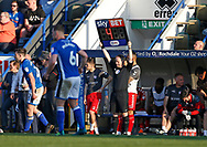 Fourth Official Robert Lewis indicates 4 minutes of stoppage time during the EFL Sky Bet League 1 match between Rochdale and Charlton Athletic at Spotland, Rochdale, England on 5 May 2018. Picture by Paul Thompson.
