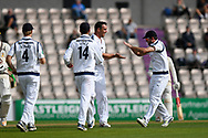 Wicket - Kyle Abbott of Hampshire celebrates taking the wicket of Jason Roy of Surrey who was given out LBW during the Specsavers County Champ Div 1 match between Hampshire County Cricket Club and Surrey County Cricket Club at the Ageas Bowl, Southampton, United Kingdom on 6 September 2017. Photo by Graham Hunt.