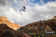 Kyle Strait trying a jump at the Red Bull Rampage in Virgin (Utah).