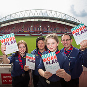 31.05.2018.          <br /> Limerick and Clare Education Training Board launch Youth Work Plan 2018-2021 at Thomond Park Limerick with Pat Breen TD, Minister of State with special responsibility for Trade, Employment, Business, EU Digital Single Market and Data Protection, Clare. <br /> <br /> Pictured at the event were, Ciara Lowe, Ursula Cosgrove, Aifric Nevin and Tom Holland, Limerick Scout County. Picture: Alan Place