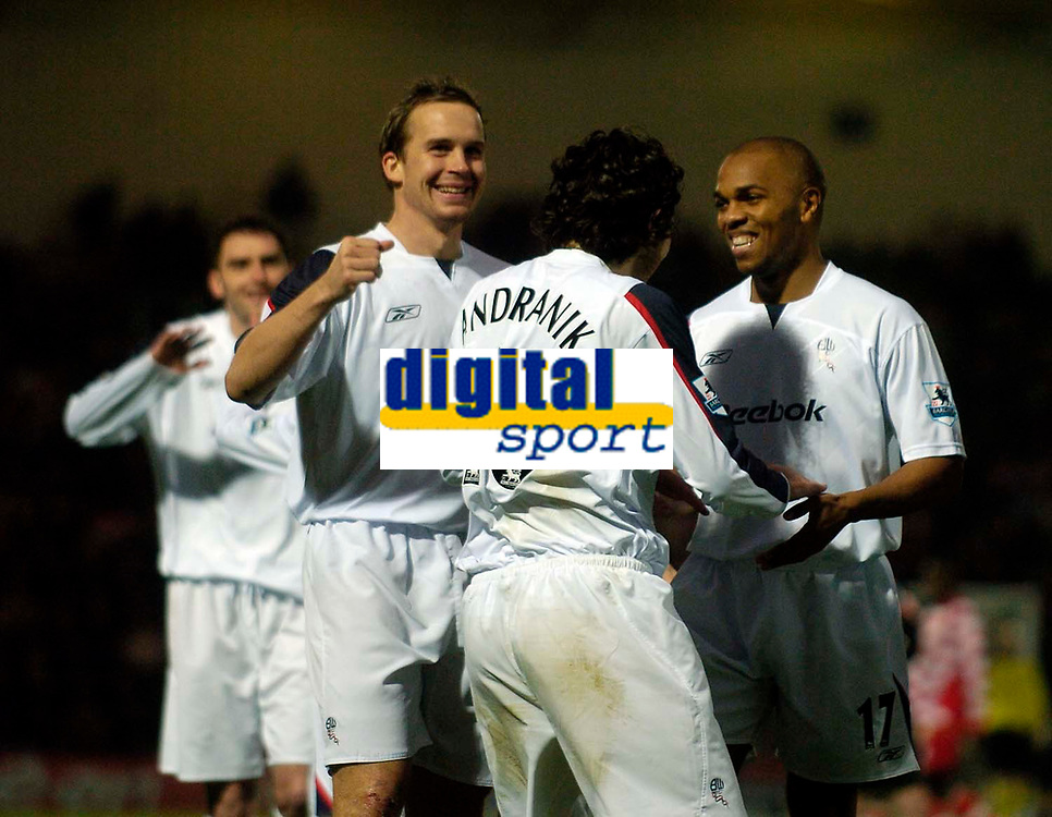 Photo: Jed Wee/Sportsbeat Images.<br />Doncaster Rovers v Bolton Wanderers. The FA Cup. 06/01/2007.<br /><br />Bolton's Quinton Fortune (R) and Kevin Davies celebrate with goalscorer Andranik.
