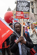 Protesters gather in Central London to demonstrate against U.S. President Donald Trumps state visit to the U.K. on the 4th June 2019 in London in the United Kingdom. Day two of President Trumps three-day state visit, which includes lunch with the Queen, a State Banquet at Buckingham Palace as well as business meetings with the Prime Minister and the Duke of York, before travelling to Portsmouth to mark the 75th anniversary of the D-Day landings.