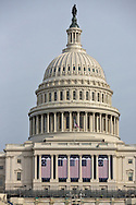 American flags decorate the Capitol Building for the Inauguration of Donald Trump as 45th President in Washgington D.C.