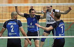 Players of Salonit Anhovo (Vincic, Purificacao, Komel, Paravan (1) and Kovacic) celebrating at 4th and final match of Slovenian Voleyball  Championship  between OK Salonit Anhovo (Kanal) and ACH Volley (from Bled), on April 23, 2008, in Kanal, Slovenia. The match was won by ACH Volley (3:1) and it became Slovenian Championship Winner. (Photo by Vid Ponikvar / Sportal Images)/ Sportida)