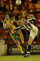 Photo: Aidan Ellis.<br /> Rochdale v Norwich City. Carling Cup. 28/08/2007.<br /> Norwich's Jason Shackell defends from Rochdale's Glenn Murray
