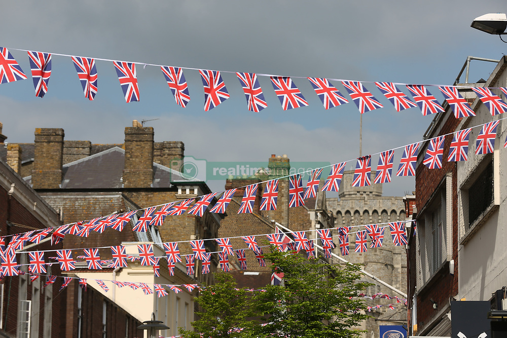Bunting has been hung from turret to turret with Union Jacks in Windsor ahead of the royal wedding of Prince Harry and Meghan Markle on May 19.