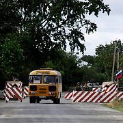 Russian peacekeeper force's checkpoint at entrance of Variani Village near Tskinvali, the capital city of the independent region of South Ossetia in Georgia.
