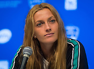 Petra Kvitova of the Czech Republic talks to the media after losing her semi-final at the 2018 Western and Southern Open WTA Premier 5 tennis tournament, Cincinnati, Ohio, USA, on August 18th 2018, Photo Rob Prange / SpainProSportsImages / DPPI / ProSportsImages / DPPI
