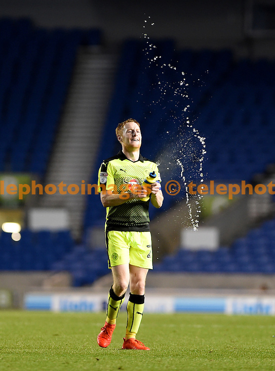 Stephen Quinn of Reading celebrates the win after the final whistle of the EFL Cup match between Brighton and Hove Albion and Reading at the American Express Community Stadium in Brighton and Hove. September 20, 2016.<br /> Liz  Finlayson / Telephoto Images<br /> +44 7967 642437