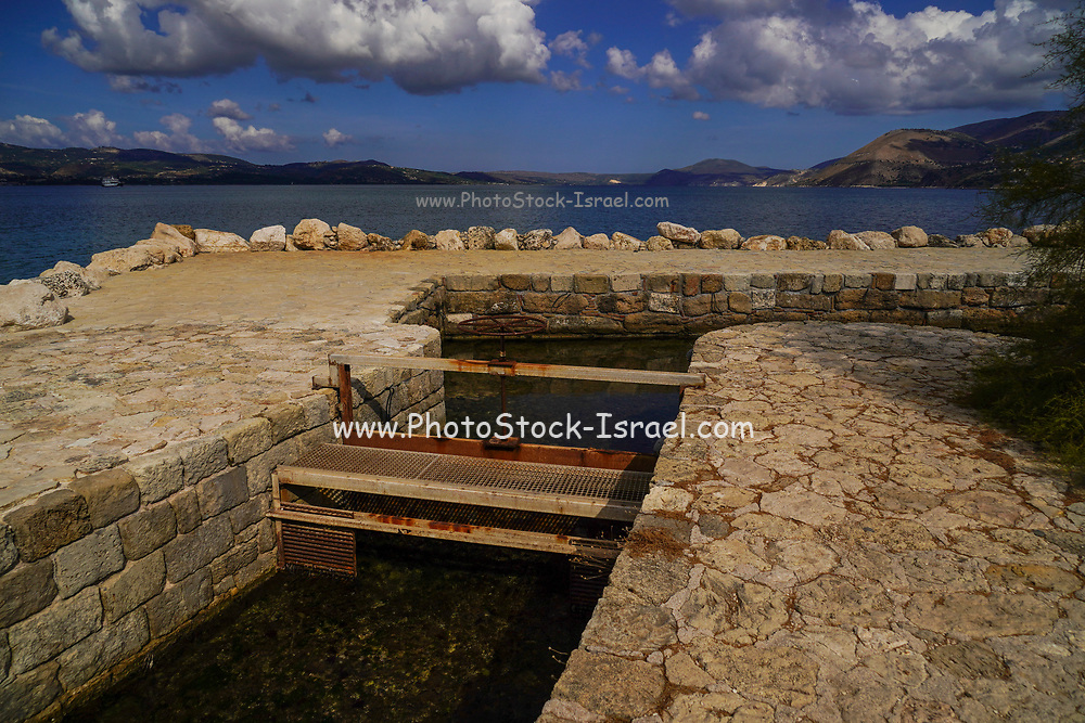 Traditional water mill at the sinkholes near Lassi, Cephalonia, Ionian Islands, Greece