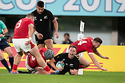 Ben Smith of New Zealand celebrates a try that has been disallowed during the Rugby World Cup bronze final match between New Zealand and Wales Friday, Nov, 1, 2019, in Tokyo. New Zealand defeated Wales 40-17.  (Flor Tan Jun/Espa-Images-Image of Sport)