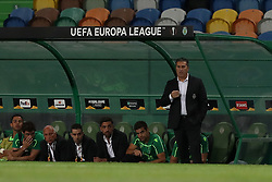 September 20, 2018 - Lisbon, Portugal - Sporting's head coach Jose Peseiro from Portugal (R ) during the UEFA Europa League Group E football match Sporting CP vs Qarabag at Alvalade stadium in Lisbon, on September 20, 2018. (Credit Image: © Pedro Fiuza/ZUMA Wire)