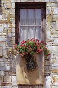 Morning sunlight and shade on window with window box and flowers in Carmel-by-the-Sea, California