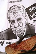 Belo Horizonte_MG, Brasil...Cartaz e sangue de manifestantes contra 47º reunião anual do bid..The poster and blood of protesters against 47 of the annual meeting of the BID...Foto: LEO DRUMOND / NITRO