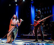 Julie Lange and Miguel Fair of the band The Bright perform during Dallas Rocks at the House of Blues Friday, February 1, 2013 in Dallas, Texas. (Cooper Neill/The Dallas Morning News)