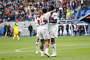 Traore Bertrand of Lyon and Depay Memphis of Lyon and Aouar Houssem of Lyon during the French Championship Ligue 1 football match between Olympique Lyonnais and FC Nantes on April 28, 2018 at Groupama Stadium in Décines-Charpieu near Lyon, France - Photo Romain Biard / Isports / ProSportsImages / DPPI