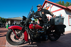 Kenney Sweeney with his 1934 Harley-Davidson VLD at the Stage 8 of the Motorcycle Cannonball Cross-Country Endurance Run, which on this day ran from Junction City, KS to Burlington, CO., USA. Saturday, September 13, 2014.  Photography ©2014 Michael Lichter.