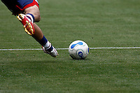 20 May 2007:  Man's feet kicking soccer ball during a 1-1 tie for MLS Chivas USA vs. Los Angeles Galaxy pro soccer teams at the Home Depot Center in Carson, CA.