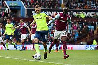 Aston Villa v Derby County - Sky Bet Championship<br /> BIRMINGHAM, ENGLAND - APRIL 28 :  Andrease Weimann of Derby County is closed down by Aston Villa's Albert Adomah