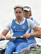 FISA World Cup Rowing Munich Germany..27/05/2004..Thursday morning opening heats...GBR W2-.Stroke Cath Bishop and Kath Grainger.. [Mandatory Credit: Peter Spurrier: Intersport Images].