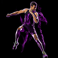 one caucasian player man exercising fitness cardio boxing exercise body combat studio shot isolated on black background with light painting blur effect