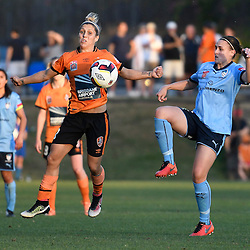 BRISBANE, AUSTRALIA - OCTOBER 30: Katrina Gorry of the Roar and Olivia Price of Sydney compete for the ball during the round 1 Westfield W-League match between the Brisbane Roar and Sydney FC at Spencer Park on November 5, 2016 in Brisbane, Australia. (Photo by Patrick Kearney/Brisbane Roar)
