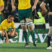 A dejected Quade Cooper after the Wallabies loss during the New Zealand V Australia Tri-Nations, Bledisloe Cup match at Eden Park, Auckland. New Zealand. 6th August 2011. Photo Tim Clayton