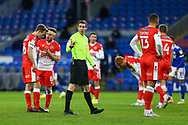 Today's referee Matthew Donohue in action during the EFL Sky Bet Championship match between Cardiff City and Millwall at the Cardiff City Stadium, Cardiff, Wales on 30 January 2021.