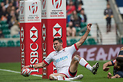 """Twickenham, Surrey United Kingdom. Canadian. Justin DOUGLAS, touches down between the posts , during the Pool C match, Canada vs Japan at the  """"2017 HSBC London Rugby Sevens"""",  Saturday 20/05/2017 RFU. Twickenham Stadium, England    <br /> <br /> [Mandatory Credit Peter SPURRIER/Intersport Images]"""