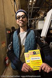 Hideya Togashi about to get some awards at the 26th Annual Yokohama Hot Rod and Custom Show 2017. Yokohama, Japan. Sunday December 3, 2017. Photography ©2017 Michael Lichter.