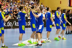 Players of team Slovenia before handball match between National teams of Slovenia and Hungary in play off of 2015 Men's World Championship Qualifications on June 15, 2014 in Rdeca dvorana, Velenje, Slovenia. Photo by Urban Urbanc / Sportida