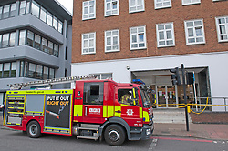 ©Licensed to London News Pictures 16/07/2020     <br /> Bromley, UK. A large emegency response in Bromley town Centre as two people are taken unwell. A Bromley address has been evacuated due to a suspicious package, Firefighters with breathing apparatus have been seen at the back of an office building. Photo credit: Grant Falvey/LNP