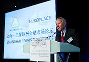 Paris Europlace Chief Executive Arnaud de Bresson speaks at Shanghai / Paris Europlace Financial Forum, in Shanghai, China, on December 1, 2010. Photo by Lucas Schifres/Pictobank