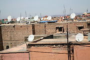 TV satellite dishes on rooftops of houses in the medina, Marrakech, Morocco